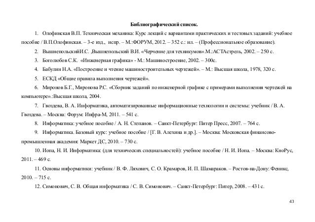 библиографический список в реферате