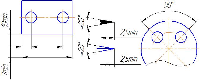 нанесение размерных линий и чисел на чертежи